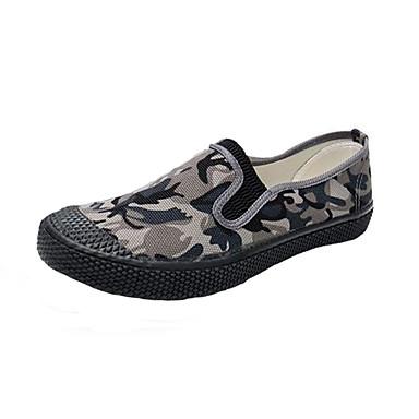Homens Sapatos Confortáveis Lona Verão Casual Mocassins e Slip-Ons Respirável Estampa Colorida Marron / Cinzento