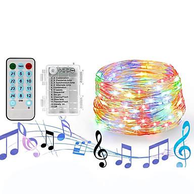 loende luzes da corda de fadas 20 m 200 leds bateria operado luzes estreladas à prova d 'água com controle remoto 4 modos de música& 8 modos de iluminação luzes de cintilação para diy quarto