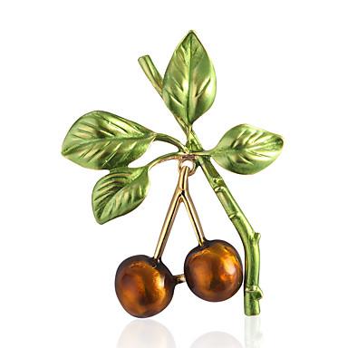 levne Dámské šperky-Dámské Brože Klasika Třešňová stylové Jednoduchý Vintage Sladký Módní Brož Šperky Zlatá Pro Párty Dar Street Dovolená Festival