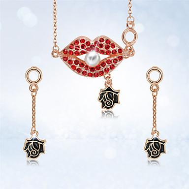 levne Dámské šperky-Dámské Visací náušnice Náhrdelníky s přívěšky 3D Pusa stylové Klasické Napodobenina perel Pozlacené Náušnice Šperky Zlatá Pro Denní Práce 1 sada