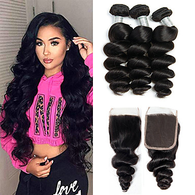 cheap 3 Bundles with Closure-3 Bundles with Closure Hair Weaves Brazilian Hair Loose Wave Human Hair Extensions Remy Human Hair 100% Remy Hair Weave Bundles 345 g Natural Color Hair Weaves / Hair Bulk Human Hair Extensions 8-20