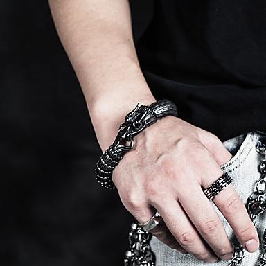voordelige Herensieraden-Heren Dames Vintage Armbanden Armband Schakelarmband Sculptuur Draak Statement Uniek ontwerp Barok modieus Gothic Titanium Staal Armband sieraden Zilver Voor Lahja Dagelijks Carnaval Straat Club