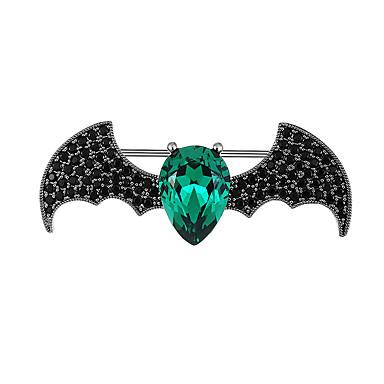 Homens Mulheres Broches Escultura Morcego Luxo Na moda Doce Elegante Colorido Imitações de Diamante Broche Jóias Preto Dourado Para Casamento Presente Rua Promessa