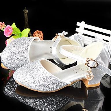preiswerte Kleine Absätze für Teenager-Mädchen Schuhe für das Blumenmädchen Kunststoff High Heels Große Kinder (ab 7 Jahren) Silber Sommer
