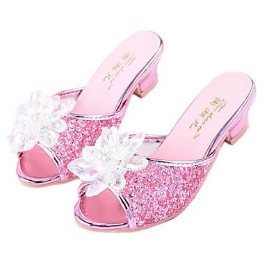 preiswerte Kinderhausschuhe-Mädchen Schuhe für das Blumenmädchen Kunststoff Slippers & Flip-Flops Kleine Kinder (4-7 Jahre) Kristall Silber / Blau / Rosa Sommer / Peep Toe