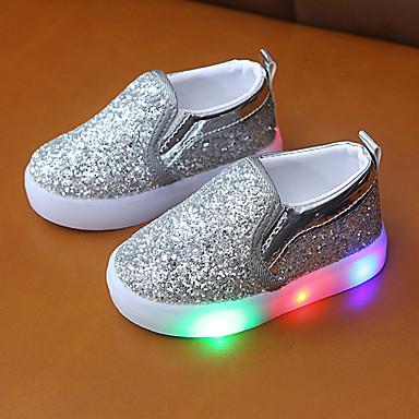 preiswerte LED Schuhe-Jungen / Mädchen Komfort Kunststoff Loafers & Slip-Ons Kleinkind (9m-4ys) / Kleine Kinder (4-7 Jahre) Schwarz / Silber / Rosa Frühling / Herbst / Gummi