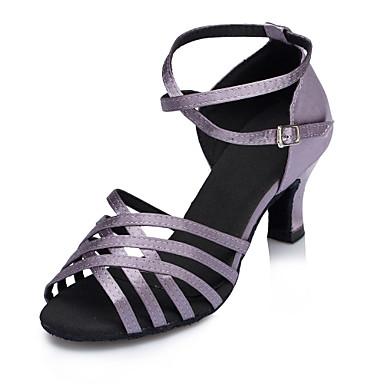 Mulheres Sapatos de Dança Latina Cetim Correia Cruzada Salto Recortes Salto Cubano Personalizável Sapatos de Dança Roxo / Espetáculo