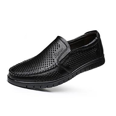 Homens Sapatos Confortáveis Pele Primavera / Verão Mocassins e Slip-Ons Respirável Preto / Marron / Escritório e Carreira