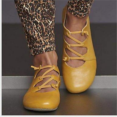 levne Dámské boty s plochou podrážkou-Dámské Bez podpatku Rovná podrážka Oblá špička Kůže Léto Žlutá / Červená / Modrá