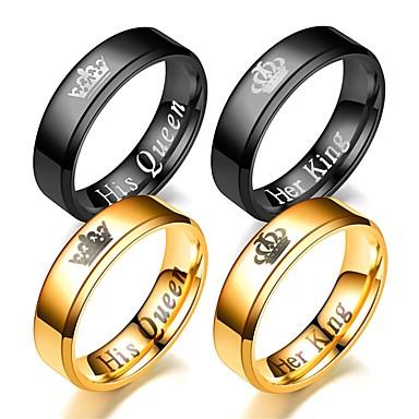 levne Pánské šperky-Pánské Dámské Band Ring Prsten Tail Ring 1ks Zlatá Černá Nerez Kulatý Vintage Základní Módní Dar Denní Šperky Korunka Cool