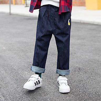 povoljno Odjeća za dječake-Djeca Djevojčice Jednobojni Pamuk Traperice Plava