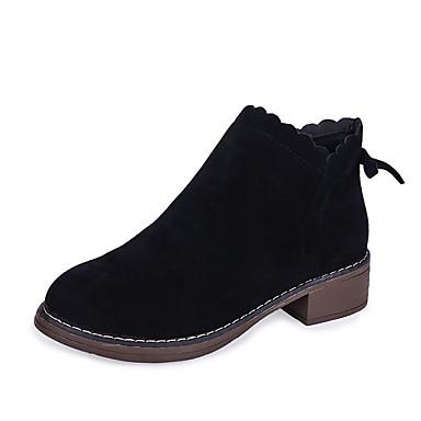 voordelige Dameslaarzen-Dames Laarzen Blok hiel Ronde Teen Strik Suède Korte laarsjes / Enkellaarsjes minimalisme Herfst winter Zwart / Bruin