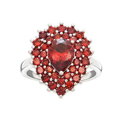 billige Motering-Dame Ring 1pc Rød Kobber Sirkelformet Grunnleggende Koreansk Mote Festival Smykker Pære