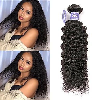 povoljno Ekstenzije od ljudske kose-3 paketa Peruanska kosa Kinky Curly Remy kosa 100% Remy kose tkanja Bundle Ljudske kose plete Produžetak Bundle kose 8-28 inch Prirodna boja Isprepliće ljudske kose Party Cool Vjenčanje Proširenja