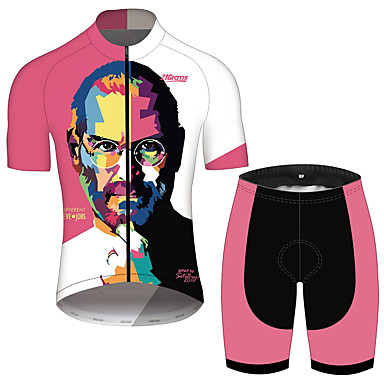 21Grams Steve Jobs Homens Manga Curta Camisa com Shorts para Ciclismo - Rosa / Preto Moto Conjuntos Respirável Secagem Rápida Tiras Refletoras Esportes 100% Poliéster Ciclismo de Montanha Roupa