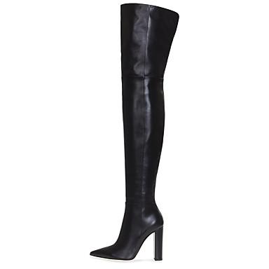voordelige Dameslaarzen-Dames Laarzen Blokhak Gepuntte Teen Imitatieleer Over de knie laarzen Brits / minimalisme Winter Zwart / Vleeskleurig / Feesten & Uitgaan