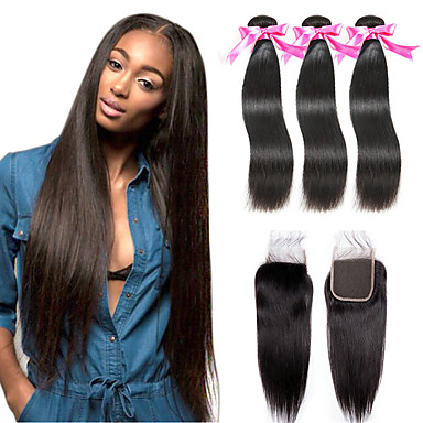 cheap 3 Bundles with Closure-3 Bundles with Closure Hair Weaves Malaysian Hair Straight Human Hair Extensions Remy Human Hair 100% Remy Hair Weave Bundles Natural Color Hair Weaves / Hair Bulk Extension Hair Weft with Closure