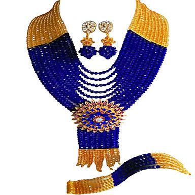 voordelige Dames Sieraden-Dames Teenring Ketting Oorbel kralen Lucky Elegant Afrika oorbellen Sieraden Marine Blauw Voor Bruiloft Feest Lahja Dagelijks Festival 1 set / Armband