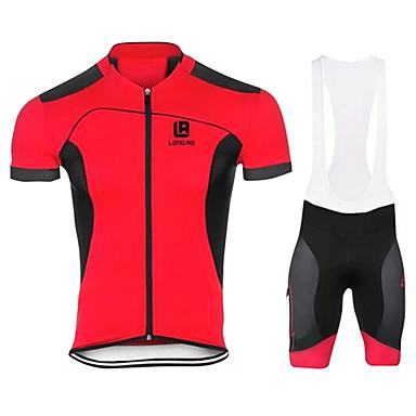 สำหรับผู้ชาย แขนสั้น Cycling Jersey with Bib Shorts สีดำ สีเขียว ขาว สีทึบ จักรยาน ชุดออกกำลังกาย ระบายอากาศ 3D Pad แห้งเร็ว ออกแบบตามสรีระ Ultraviolet Resistant กีฬา ความเย็นสุด® ตารางไขว้ ซิลิโคน