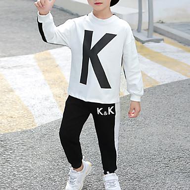 povoljno Odjeća za dječake-Djeca Dječaci Kinezerije Pamuk Crno-bijela Print Print Dugih rukava Regularna Normalne dužine Komplet odjeće Crn