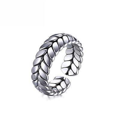billige Motering-Herre Band Ring Ring Åpne Ring 1pc Sølv Titanium Stål Vintage trendy Gotisk Fest Daglig Smykker Skulptur Veving