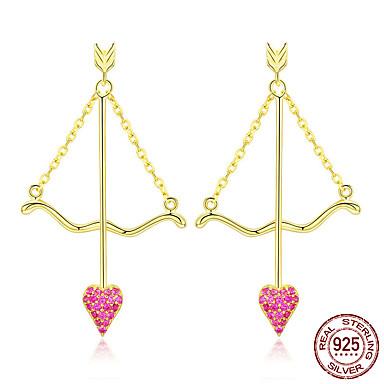 Genuine 925 sterling silver cupid flecha coração rosa brincos para mulheres dia dos namorados jóias bse34023