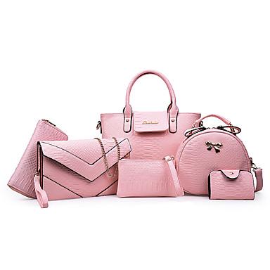 preiswerte Taschen-Damen Reißverschluss / Kette PU Bag Set Volltonfarbe 6 Stück Geldbörse Set Schwarz / Weiß / Purpur