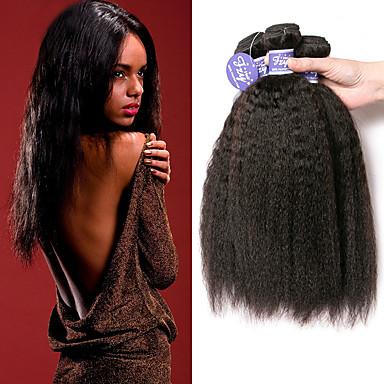 povoljno Ekstenzije od ljudske kose-3 paketa Brazilska kosa Yaki Straight Virgin kosa Netretirana  ljudske kose Ljudske kose plete Produžetak Bundle kose 8-28 inch Prirodna boja Isprepliće ljudske kose Jednostavan Anime Život