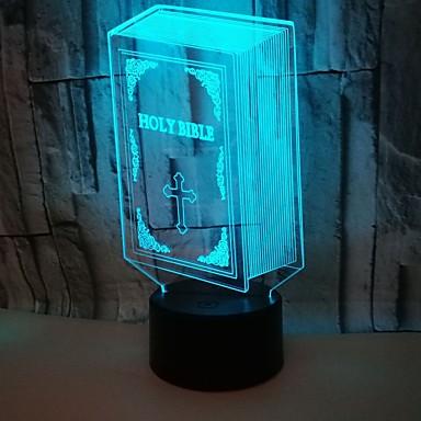 1pç Luz noturna 3D RGB USB Cores Variáveis / Com porta USB <5 V