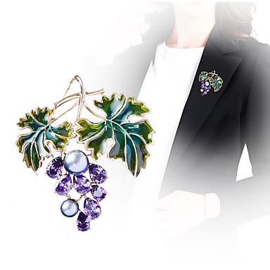 levne Dámské šperky-Pánské Dámské Brože Ozdobný Vínová Luxus Moderní Barevná Perly Pozlacené Umělé diamanty Brož Šperky Fialová Pro Svatební Zásnuby Dar Práce Slib