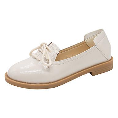 levne Dámské boty s plochou podrážkou-Dámské Nokasíny Rovná podrážka Oblá špička PU Minimalismus Léto Černá / Béžová