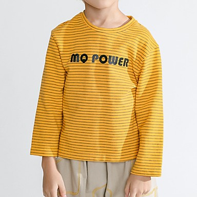 billige baby & barn-Barn Gutt Grunnleggende Stripet Langermet T-skjorte Gul