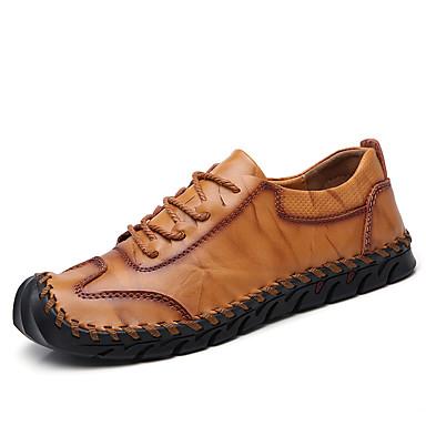 Homens Sapatos de couro Pele Primavera / Outono Esportivo / Casual Oxfords Aventura / Caminhada Não escorregar Preto / Amarelo / Marron / Ao ar livre / Sapatos Confortáveis