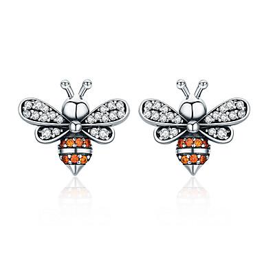 levne Dámské šperky-vysoce kvalitní 100% 925 mincovní stříbro včela příběh jasný cz nádherné náušnice pro ženy módní stříbrné šperky sce344
