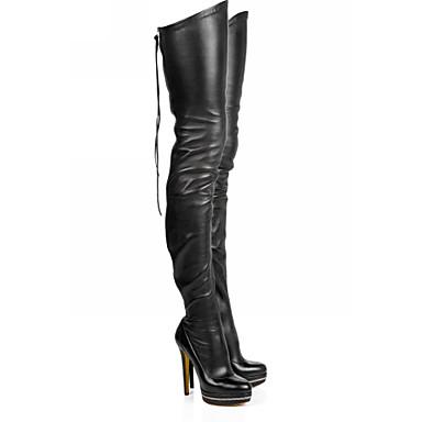 voordelige Dameslaarzen-Dames Laarzen Naaldhak Ronde Teen PU Dij-hoge laarzen Herfst winter Zwart