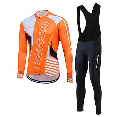 Fastcute สำหรับผู้ชาย แขนยาว Cycling Jersey with Bib Tights สีม่วง ส้ม สีเหลือง จักรยาน ชุดออกกำลังกาย ขี่จักรยานปีนเขา Road Cycling รักษาให้อุ่น กันลม กีฬา ฤดูหนาว ผ้าขนแกะ เสื้อผ้าถัก / ยืด