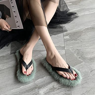 voordelige Damespantoffels & slippers-Dames Slippers & Flip-Flops Platte hak Ronde Teen Imitatiebont Lente & Herfst Paars / Groen / Roze
