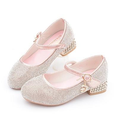 preiswerte Kleine Absätze für Teenager-Mädchen Schuhe für das Blumenmädchen Mikrofaser High Heels Kleine Kinder (4-7 Jahre) Glitter Silber / Rosa Herbst