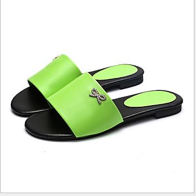 voordelige Damespantoffels & slippers-Dames Slippers & Flip-Flops Platte hak Ronde Teen PVC Zomer Zwart / Wit / Geel