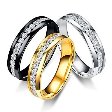 levne Pánské šperky-Pánské Dámské Band Ring Prsten Tail Ring 1ks Zlatá Černá Stříbrná Titanová ocel Kulatý Vintage Základní Módní Dar Denní Šperky