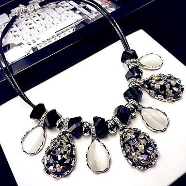 levne Dámské šperky-Dámské Kočičí oko Chrysoberyl Obojkové náhrdelníky Třásně Klasické Módní Chrome Umělé diamanty Černá / Bílá 42 cm Náhrdelníky Šperky 1ks Pro Denní
