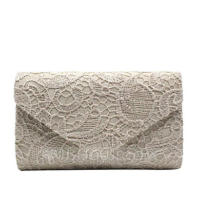 cheap Clutches & Evening Bags-Women's Bags Polyester Clutch Lace for Daily / Date Wine / White / Black / Wedding Bags