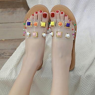 voordelige Damespantoffels & slippers-Dames Slippers & Flip-Flops Platte hak Ronde Teen Siernagel PU Zomer Lichtbruin