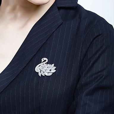 Mulheres Broches Clássico Cisne Artistíco Luxo Elegante Broche Jóias Prata Para Casamento Noivado Presente Trabalho Promessa