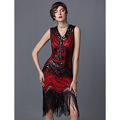 The Great Gatsby Čarlston 1920s Vruće dvadesete Roaring 20s Haljina s flapperom Kostim za party Povorka maski Koktel haljina Žene Šljokice Rese Spandex Kostim Crvena Vintage Cosplay Party Prom Bez