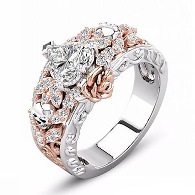 billige Motering-Dame Ring 1pc Svart Rose Gull Fuskediamant Legering Annerledes Vintage Koreansk Mote Daglig Smykker Klassisk Hodeskalle