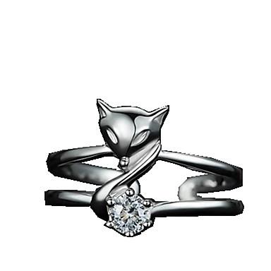 billige Motering-Dame Ring Åpne Ring Justerbar ring 1pc Hvit Sølv Sirkelformet Grunnleggende Koreansk Mote Festival Smykker Dyr Kul
