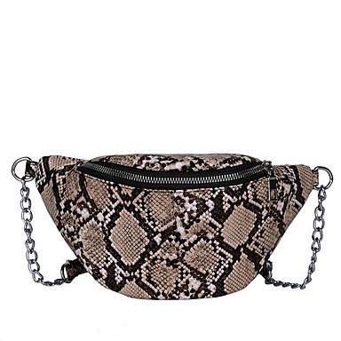 preiswerte Schlangenhaut-Damen Reißverschluss PU Sling Schultertasche Schlangenhaut Black Grey / Khaki
