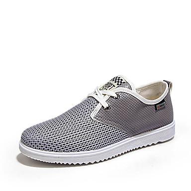 Homens Sapatos Confortáveis Com Transparência / Couro Ecológico Verão Casual Tênis Não escorregar Estampa Colorida Azul / Cinzento / Khaki
