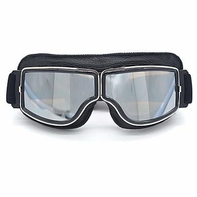 preiswerte Motorradhelme-leder vintage scooter brille pilot ski sonnenbrille helm brillen rahmen colorbrown linsen colordark brown